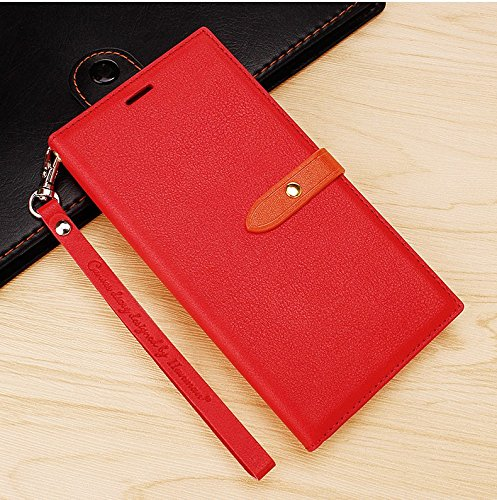 MOBII Care's Luxury Synthetic Leather Slim Wallet Flip Cover Case with Card Slots and Magnet Closure for Vivo Y51L/Y51 (Rose Red)