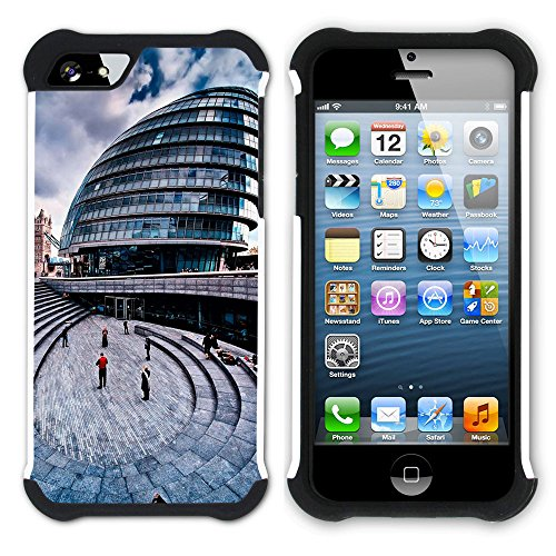 Graphic4You London City Hall UK Postkarte Ansichtskarte Design Hart + Weiche Kratzfeste Hülle Case Schale Tasche Schutzhülle für Apple iPhone SE / 5 / 5S Design #6
