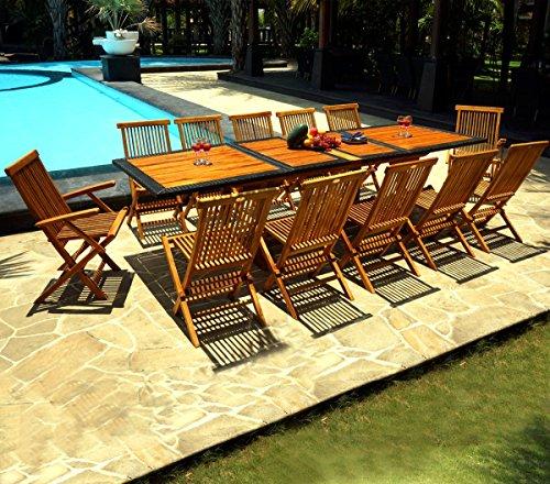 Salone da giardino in tek e resina, da 12 posti, tavolo 200-250-300 cm
