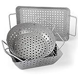 Rustler Grillschalen 3er Set | rechteckig, quadratisch & rund | aus Eisenstahl mit Antihaftbeschichtung | Grillpfanne in Steinoptik | Grillkorb für Gemüse, Fisch oder Meeresfrüchte