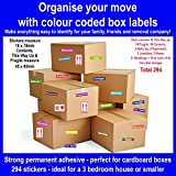 294 - Home Moving Colour Coded Box Labels/Stickers - Organise Your House Move (294 Stickers)