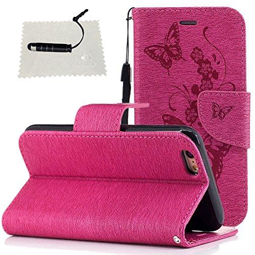 Hülle für iPhone 5s/SE Schmetterling,TOCASO Glitter Strass Bling Ledertasche Muster Weich PU Schutzhülle für iPhone 5/5S Flip Cover Wallet Case Tasche Handyhülle mit Lanyard Strap Stand Function Magne # 7 #