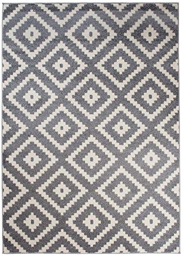 Orientalisches Marokkanisches Teppich - Modern Designer Muster - Ideal Für Ihre Wohnzimmer Schlafzimmer Esszimmer - Grau Weiß - 120 x 170 cm Casablanca Kollektion von Carpeto
