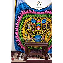 Tapestry Queen Hamsa Hippie Mandala Bohemian Hand Print BedSpread Intricate Indian Bedspread Tapestries 92x82 Inches Aakriti Gallery - American Flag Tapestry