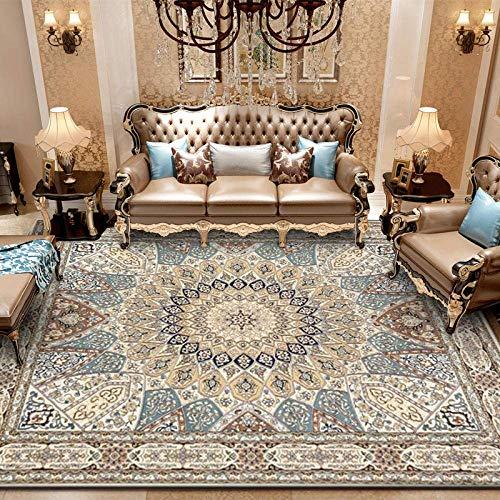 Alfombra para sala de estar Alfombra de pelo corto de diseño Vintage Persa Estilo étnico Caqui 7MM...