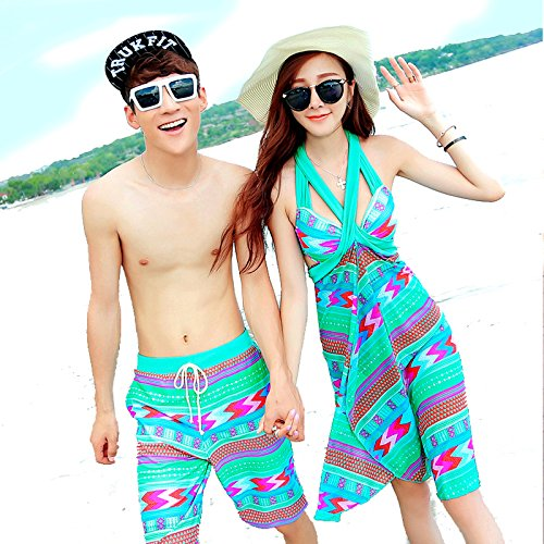 ZHANGYONG*Badeanzug weibliche Paare strandkleidung am Meer Urlaub Paare, Bikini Stahl- und 3 Stück, Badesachen Männer XXL, blau-grün (Böden Blauen Badeanzug)
