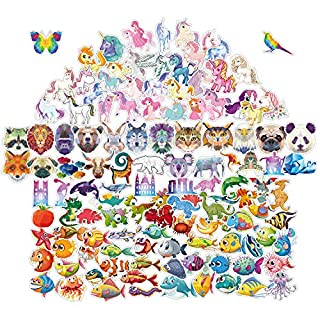 Kids Stickers [123 pcs] Cute Fun Reward Wall Cartoon Party Diy Persinalised Sticker for Children Boys Girl Princess Stickers ,Contains Underwater World,Animal,Unicorn,Dinosaur Stickers Waterproof