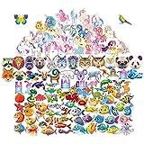 Q-Window Aufkleber Kinder [123 PCS] Süßer Kawaii VinylCartoon Sticker Kinder ist passend Stickers für Jungen und Mädchen. Es besteht aus Unterwasserwelt,Einhorn,Tiere und Dinosaurier Aufkleber