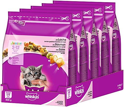 Whiskas Katzenfutter Trockenfutter Junior für junge Katzen, 5er Pack (5 x 800 g)