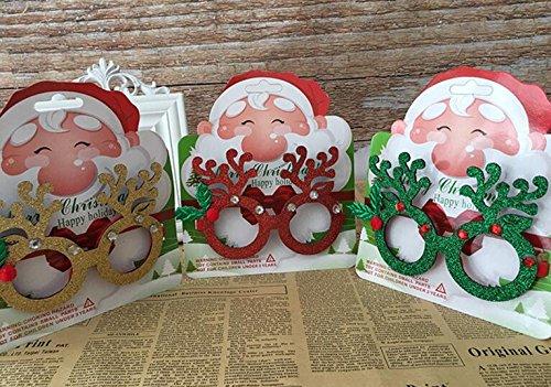 Xinjiener Art Lustige Brille Rahmen mit Strass Weihnachtsdekoration für Outdoor Interaction im Stil (rot)