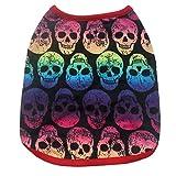 Hawkimin Haustier Hundweste, Modischer und Cool Farbverlauf Schädel Gedruckt Ärmelloses Baumwolle Welpen T-Shirt Sportswear Sweatshirt Pullover