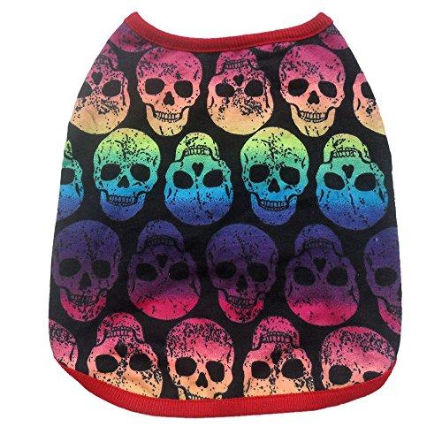 Ularma Ropa para mascotas, Calavera de Halloween multicolor impresión Pet chaleco (L, multicolor)