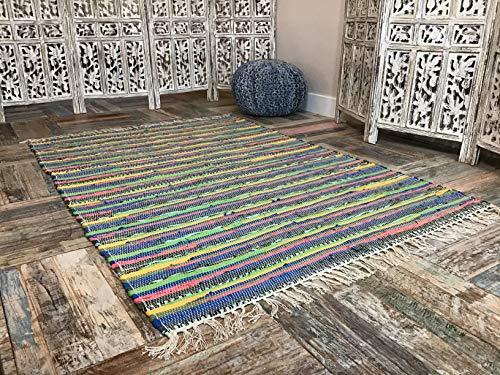 Second nature splendido tappeto multicolore in stile shabby chic, tappeto chindi, di stracci, equo e solidale, cotone, multi colours, 120 x 180 cm