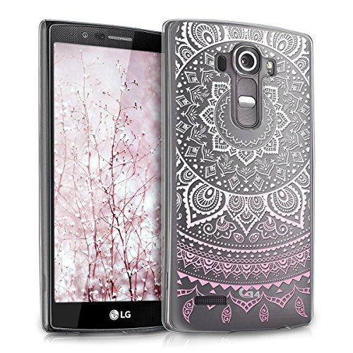 kwmobile Crystal Case Hülle für LG G4 mit Indische Sonne Design - transparente Schutzhülle Cover klar in Rosa Weiß Transparent