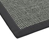 BODENMEISTER Sisal-Teppich modern hochwertige Bordüre Flachgewebe, verschiedene Farben und Größen, Variante: anthrazit dunkel-grau, 60x110