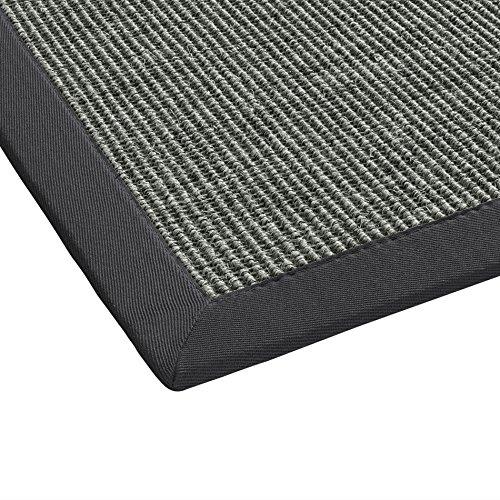 BODENMEISTER Sisal-Teppich modern hochwertige Bordüre Flachgewebe, verschiedene Farben und Größen, Variante: anthrazit dunkel-grau, 80x250