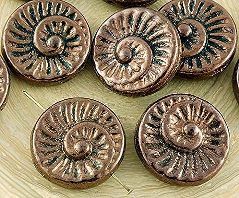 4pcs Metallic Bronze hell Glanz Nautilus Fossile Schnecken-Muschel Ammonit Flache Runde Spiral-Münze Tschechische Glasperlen 18mm