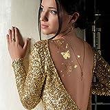 Splendido abito da sera cocktail oro tatuaggio farfalla e spirali di  gioielli con cristalli trasparenti della 3eb8a4c361f