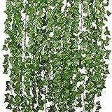 Houda Piante sospese artificiali, 25 metri, edera a foglie verdi, seta, decorazione per cucina, casa, giardino, ufficio, confezione da 12 Green