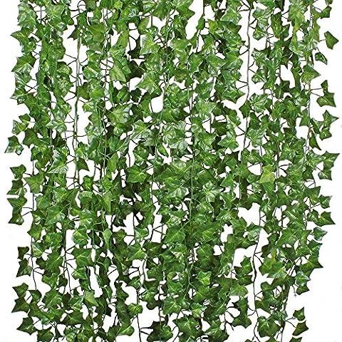 Amkun 84Pieds à suspendre plantes artificielles Faux vignes Soie Feuilles de lierre verdure Guirlande pour mariage murale de cuisine extérieur fête Festival Décor Lot de 12