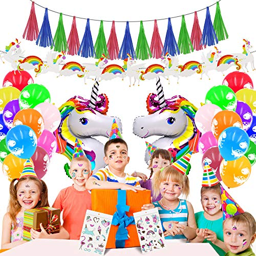 JUSTIDEA Einhorn Happy Birthday Party Luftballons Dekoration, 34pcs Baby Kids Birthdays Sets Folienballons Einhorn Ballons Einhorn Aufkleber Konfetti Latex Band Einhorn Papier Banner Party Favor
