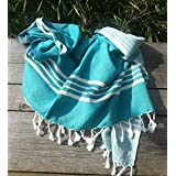 Fouta | Toalla hammam 'XXL' | toalla de baño liviana | Verde mar con rajas de color blanco |160 x 220 cm |100 % algodón de excelente calidad | diseño exclusivo de ZusenZomer