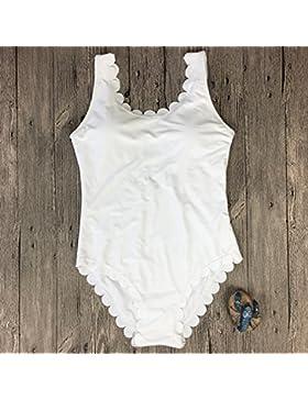 TIANLU Bikini Sexy conjuntos bañador de adelgazamiento trajes de baño de una pieza de color puro, Blanco ondulado,S