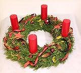 Adventskranz Weihnachten Deluxe frisch gebunden mit Tannengrün, roten Stumpenkerzen, roten Sternen aus Holz und Gleditschie, Size 160 Euro