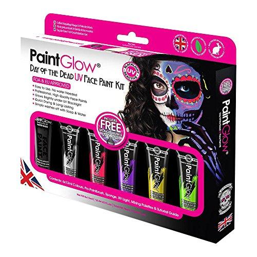 Kit Pintura de Cara Paintglow Día de los Muertos UV (Multicolor)