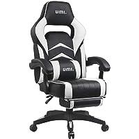Amazon Brand - Umi Chaise Gaming de Bureau Fauteuil Gamer en Cuir PU Conception Ergonomique avec Repose-Pieds…