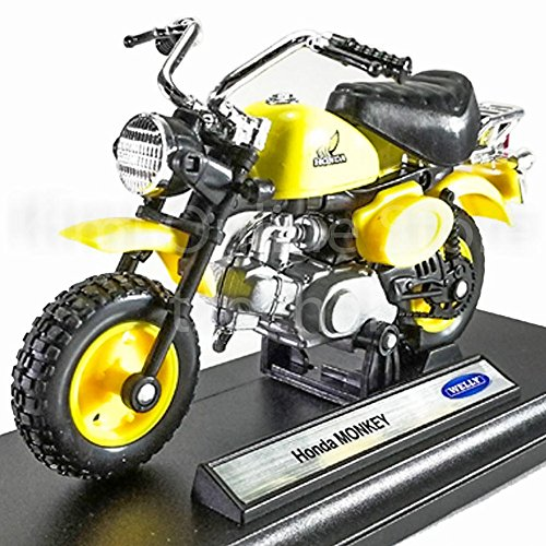 Welly 1:18 Die-Cast Honda Monkey Motorcycle Yellow Color Model Collection Christmas New Gift