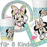 Procos/Carpeta 37-teiliges Party-Set * Minnie Mouse - Tropical * mit Teller + Becher + Servietten + Deko // Flamingo Kindergeburtstag Partygeschirr Kinder Geburtstag Mottoparty Luftballons