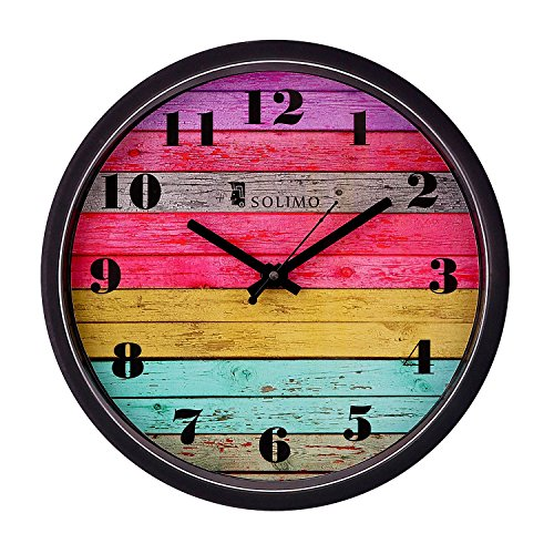 Amazon Brand - Solimo 12-inch Wall Clock - Coloured Stripes (Step Movement,...