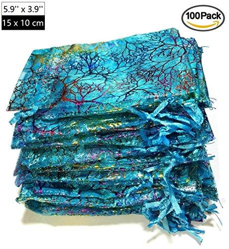 ralline Blue Organza Geschenktüten, Drawstring Beutel Schmuck Taschen, Candy Pouch Schokolade Pouch Party Hochzeit Gunsten Geschenktüte, 5.9 x 3.9 Zoll (Minnie Danke)