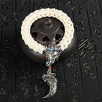 Weiß Schlangenknochen Armband Handgelenk Mala Ring Hand Kette Thailand  Elefant Stil Zuhause Auto Büro Handtasche