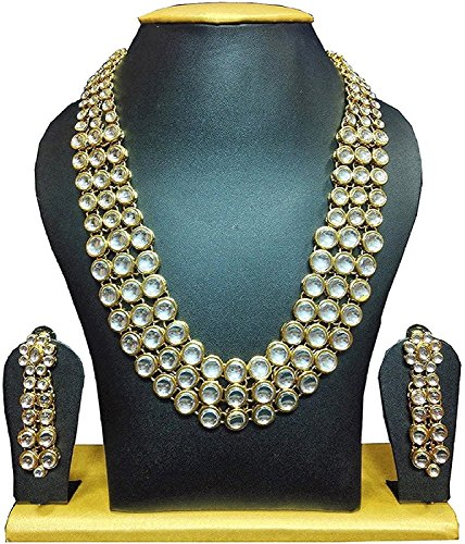 YouBella Fashion Jewellery Gold Plated Kundan Traditional Necklace set for women party wear and wedding wear Jewellery set with Earrings For Girls/Women