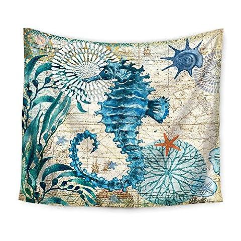 Indische Hippie-Tapisserie Blaue Mittelmeer-Meerestiere Wand-hängende Strand-Wurf , A ,