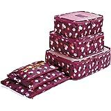 6 Set Kleidertaschen - 3 Packwürfel + 3 Taschen - Perfekter Reisegepäck-Organizer(Wine Flower)