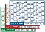 3 Stück Schuljahres - Wandkalender 2017-2018 DIN A2 3-farbig (gerollt) - Wandplaner 2017-2018 mit Ferienübersicht für alle Bundesländer (Versand nur 3€)