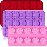3-pack silikonformar med hundtassar och benform, fin hundmat form återanvändbar bakredskap för bakning chokladgodis,