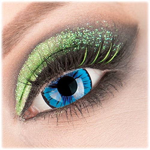 Farbige blaue 'Kami' Mini Sclera Kontaktlinsen 1 Paar Crazy Fun 17 mm mit Behälter zu Fasching Karneval Halloween - Topqualität von 'Giftauge' ohne Stärke