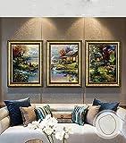 SCD Sala de Estar Decoración Pintura Sofá Fondo Pared Pintura Pintura Jardín Restaurante Sala de Estar Triple Pintura Enmarcada Murales,F,54 * 74CM