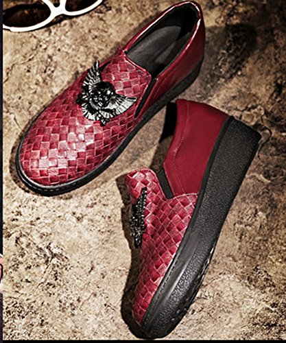 Aisun Damen Punk Skelett flach Plateau Low Top Fashion Sneakers Rot