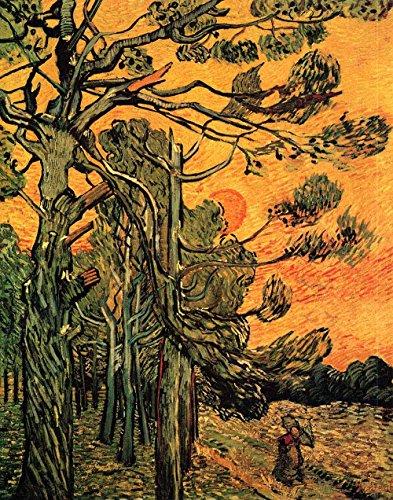 Das Museum Outlet-Kiefer Bäume, A Red Sky mit Fassung Sonne, gespannte Leinwand Galerie verpackt. 29,7x 41,9cm -