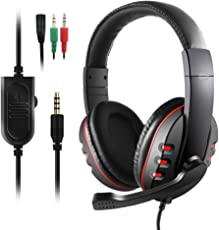 Etpark Gaming Headset mit Mikrofon, 3.5mm Surround Sound Over-Ear-Kopfhörer für PS4 Xbox One PC Laptop Tablet Mobile Phones