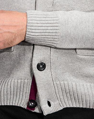 Vincenzo Boretti Herren-Strickjacke Cardigan slim-fit tailliert Strick-Pullover einfarbig Baumwolle-Mix edel elegant warm dick Grob-Strick für Business oder Casual Grau