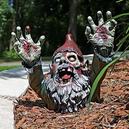 Design Toscano Zombie Gnombie Gothic Decor Garden Gnome Graveyard Statue, 28 cm, Polyresin, Full Color
