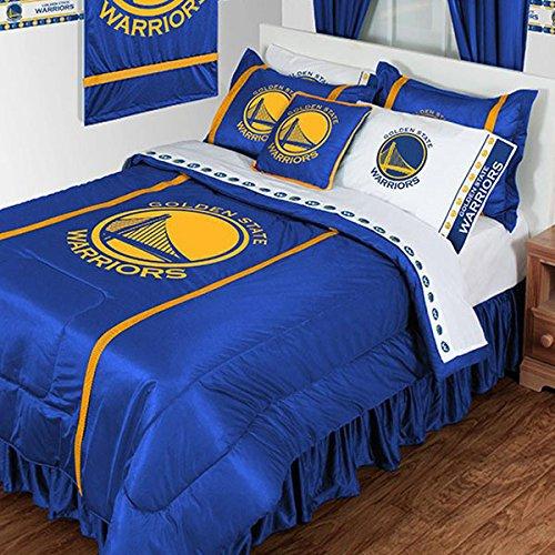 Gold Twin Set Tröster (2PC NBA Golden State Warriors Twin Tröster und Kissenbezüge Set Basketball Team Bettwäsche Logo von NBA)