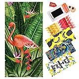 WLZP Asciugamano da Spiaggia, Assorbente 100% Cotone Coperta da Spiaggia - 30 x 60 inch Miglior Asciugamano Leggero per Il Nuoto, Sport, Viaggi, Spiaggia - Regalo Custodia Impermeabile
