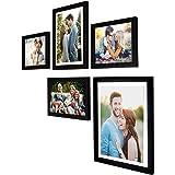 Art Street - Set of 5 Individual Black Wall Photo Frames Wall Hanging (Mix Size)(2 Units 6X8, 1 Units 6X10, 1 Unit 8X10…
